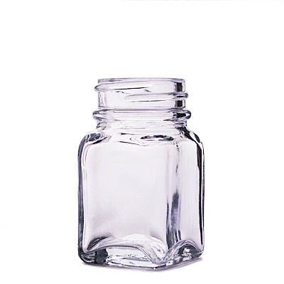 1oz (30ml) Flint (Clear) Wide Mouth Square Glass Bottle - 33-400 Neck