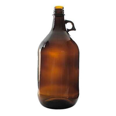 80oz (0.63 gallons) Amber Acid Pistol Grip Round Glass Bottle - 38-434 Neck