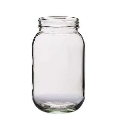 16oz (480ml) Flint (Clear)  Economy Round Glass Jar - 63-400 Neck