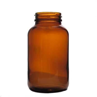 250cc (8.4oz) Amber Wide Mouth Round Glass Bottle - 45-400 Neck