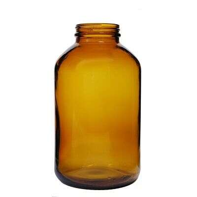 950cc (32oz) Amber Wide Mouth Round Glass Bottle - 53-400 Neck