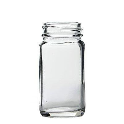 2oz (60ml) Flint (Clear) Sample Round Glass Jar - 38-400 Neck