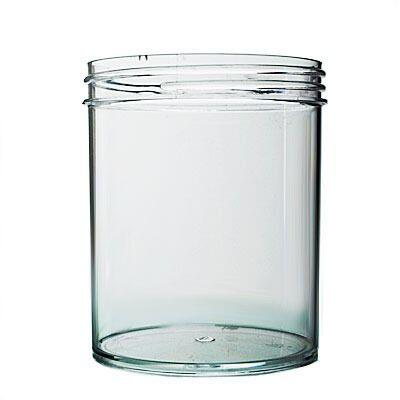16oz (480ml) Clear PS Straight-Sided Round Plastic Jar - 89-400 Neck