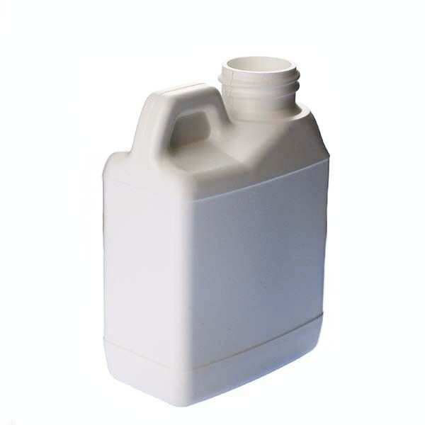 4oz (120ml) White HDPE F-Style with Handle Rectangular Plastic Bottle - 24-400 Neck