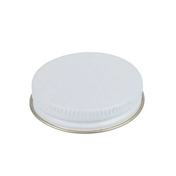 48-400 White Metal Screw Cap With Plastisol Liner