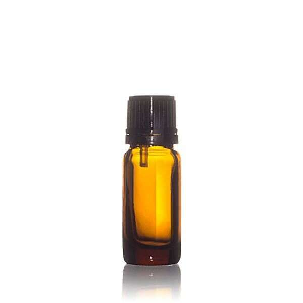 10ml Amber Glass Dropper Bottle Round with 0.9mm Vertical Dropper and Black Tamper Evident Screw Cap