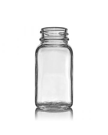 2oz Flint Wide Mouth Square Glass Bottle