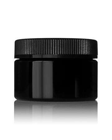 6oz (180ml) Black PET Wide-Mouth Flush-Fit Cannabis Jar - 70-400 Neck