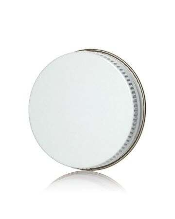48-400 White Knurled Edge Tin Plate Metal Cap - Pulp and Poly Liner