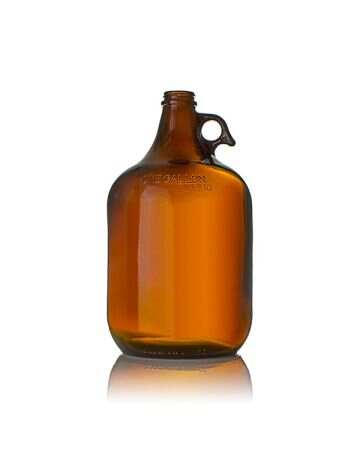 1 Gallon Amber Pistol Grip Glass Jug