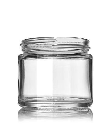 2oz (60ml) Flint (Clear) Glass Cream Jar Round (24 Pack) - 53-400 Neck
