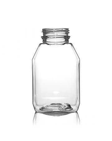 8oz Clear Wide Mouth Square Beverage Bottle - 38-385 Temper Evident Neck