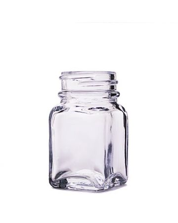 1oz Flint Wide Mouth Square Glass Bottle