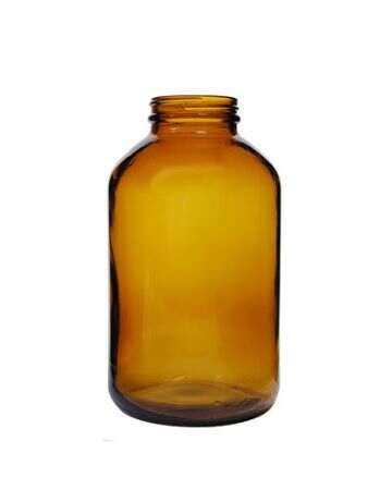 950cc Amber Wide Mouth Round Glass Bottle