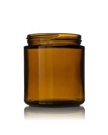 4oz (120ml) Amber Glass Straight Sided Cream Jar Modular Round- 58-405 Neck